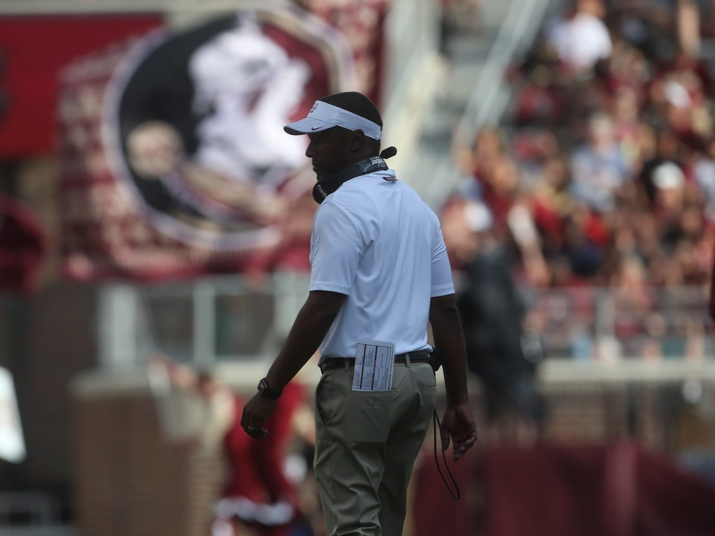 Florida State football head coach Willie Taggart watches his team come off the field after a touchdown during a game against Wake Forest at Doak Campbell Stadium on Saturday, Oct. 20, 2018.