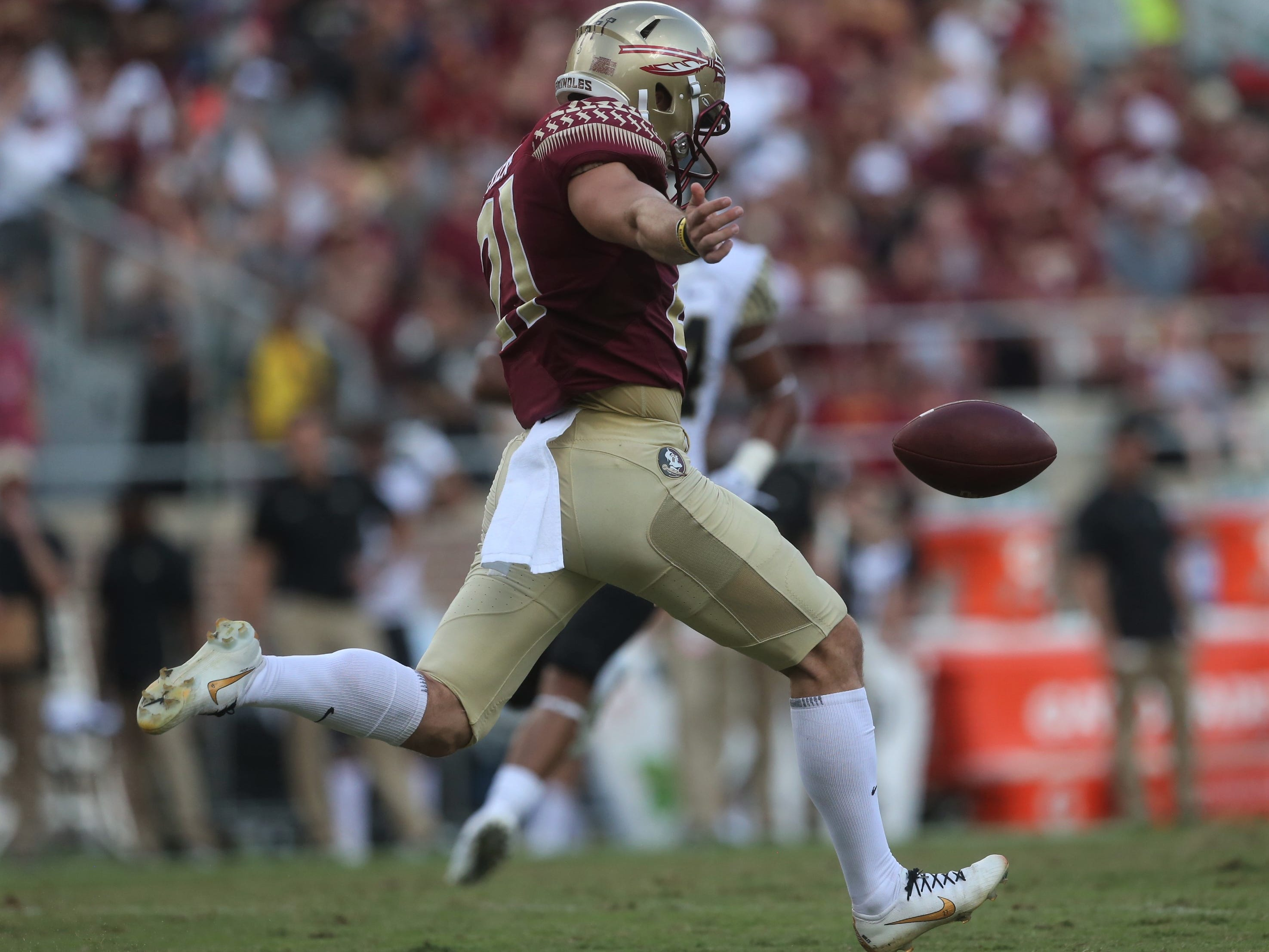 Florida State punter Logan Tyler prepares to boom a punt against Wake Forest during a game at Doak Campbell Stadium on Saturday, Oct. 20, 2018.