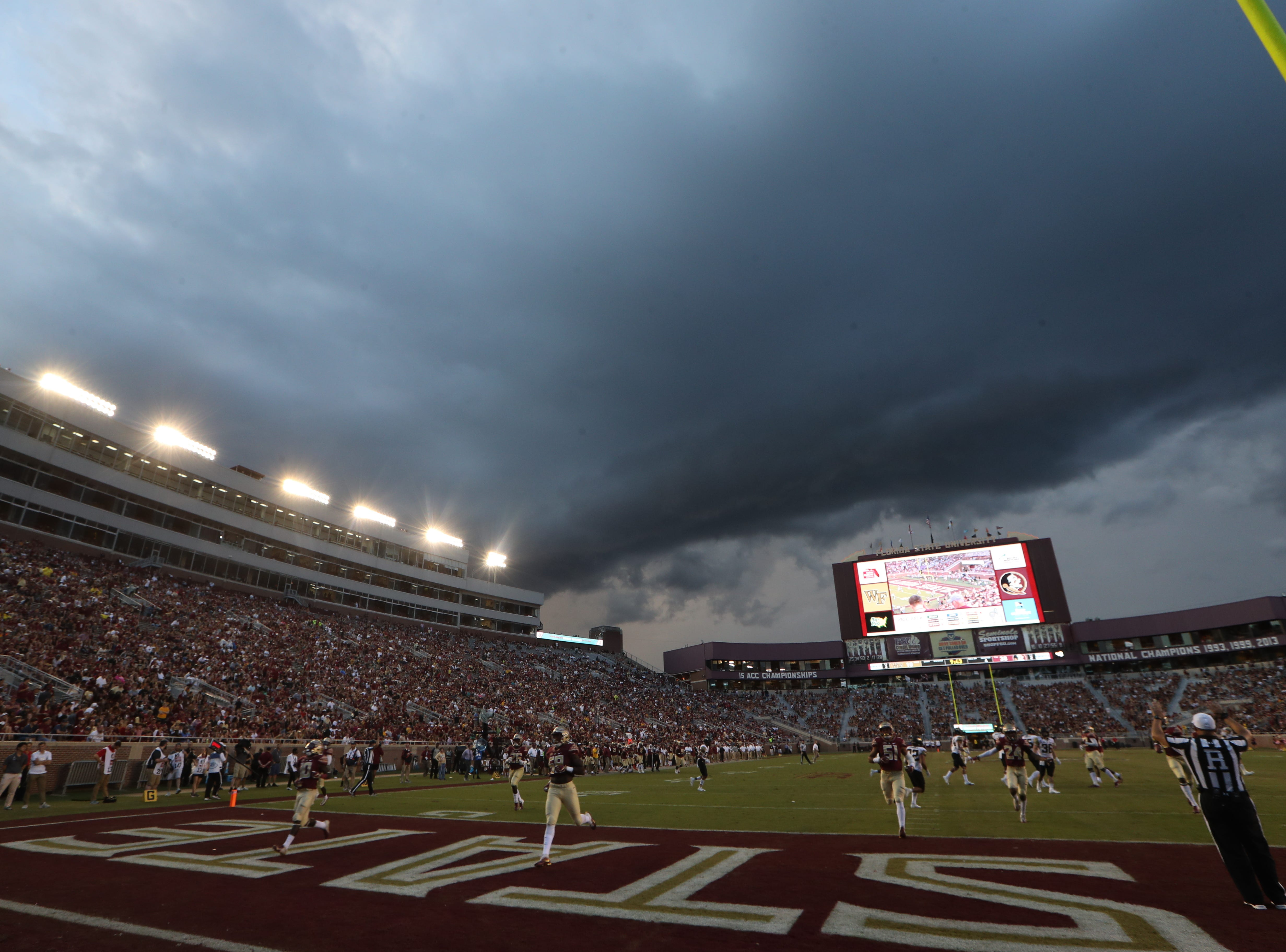 Rain clouds roll in over Doak S. Campbell Stadium during FSU's homecoming game against Wake Forest Saturday, Oct. 20, 2018.