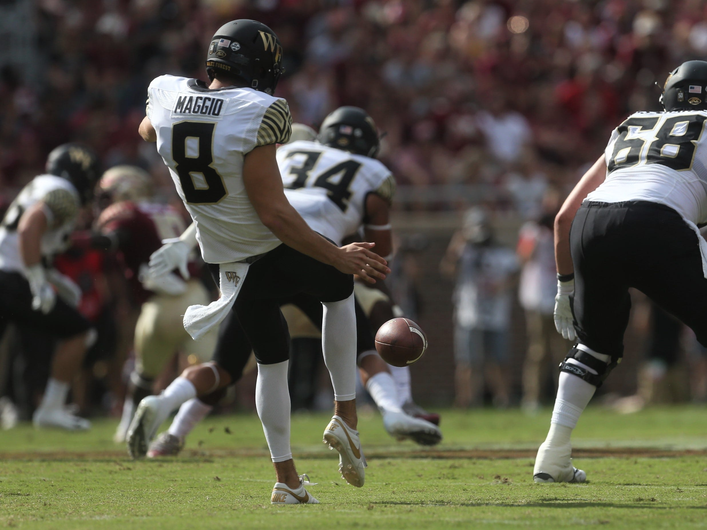 Wake Forest punter Dom Maggio tries to punt a ball deep against Florida State during a game at Doak Campbell Stadium on Saturday, Oct. 20, 2018.
