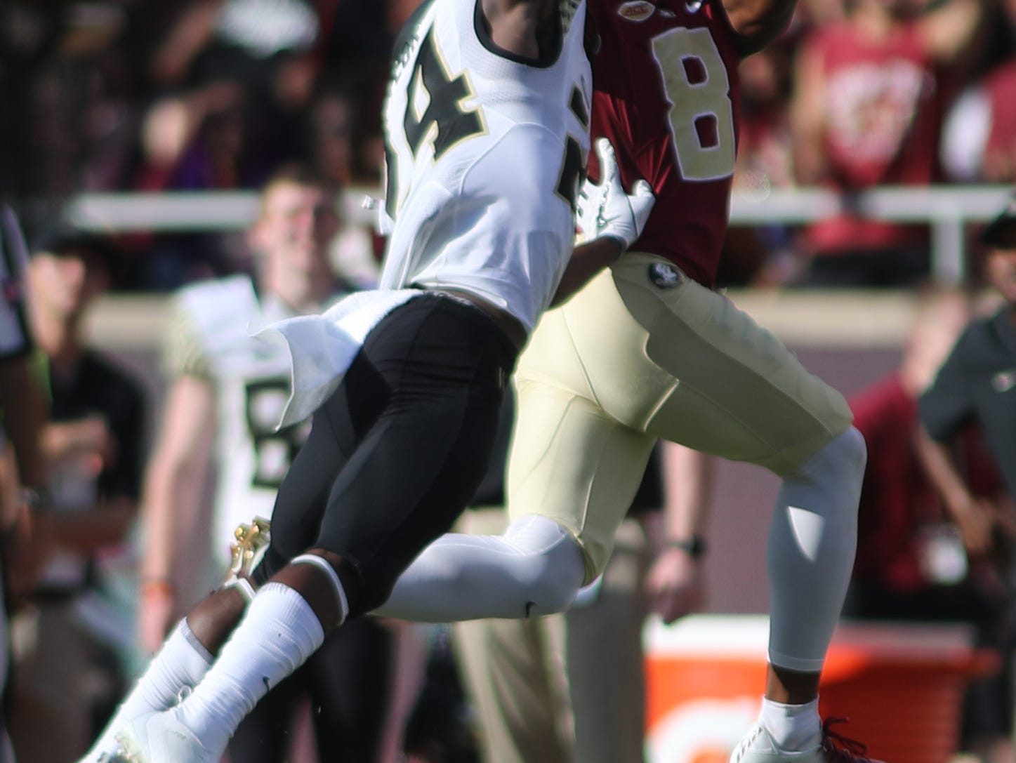 Florida State Seminoles wide receiver Nyqwan Murray (8) goes up for a catch against Wake Forest Demon Deacons defensive back Ja'Sir Taylor (24) during FSU's homecoming game against Wake Forest at Doak S. Campbell Stadium Saturday, Oct. 20, 2018.