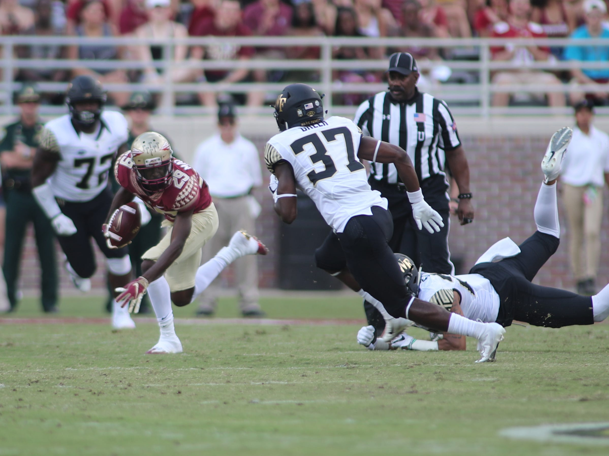 Florida State Seminoles wide receiver D.J. Matthews (29) runs the ball during FSU's homecoming game against Wake Forest at Doak S. Campbell Stadium Saturday, Oct. 20, 2018.