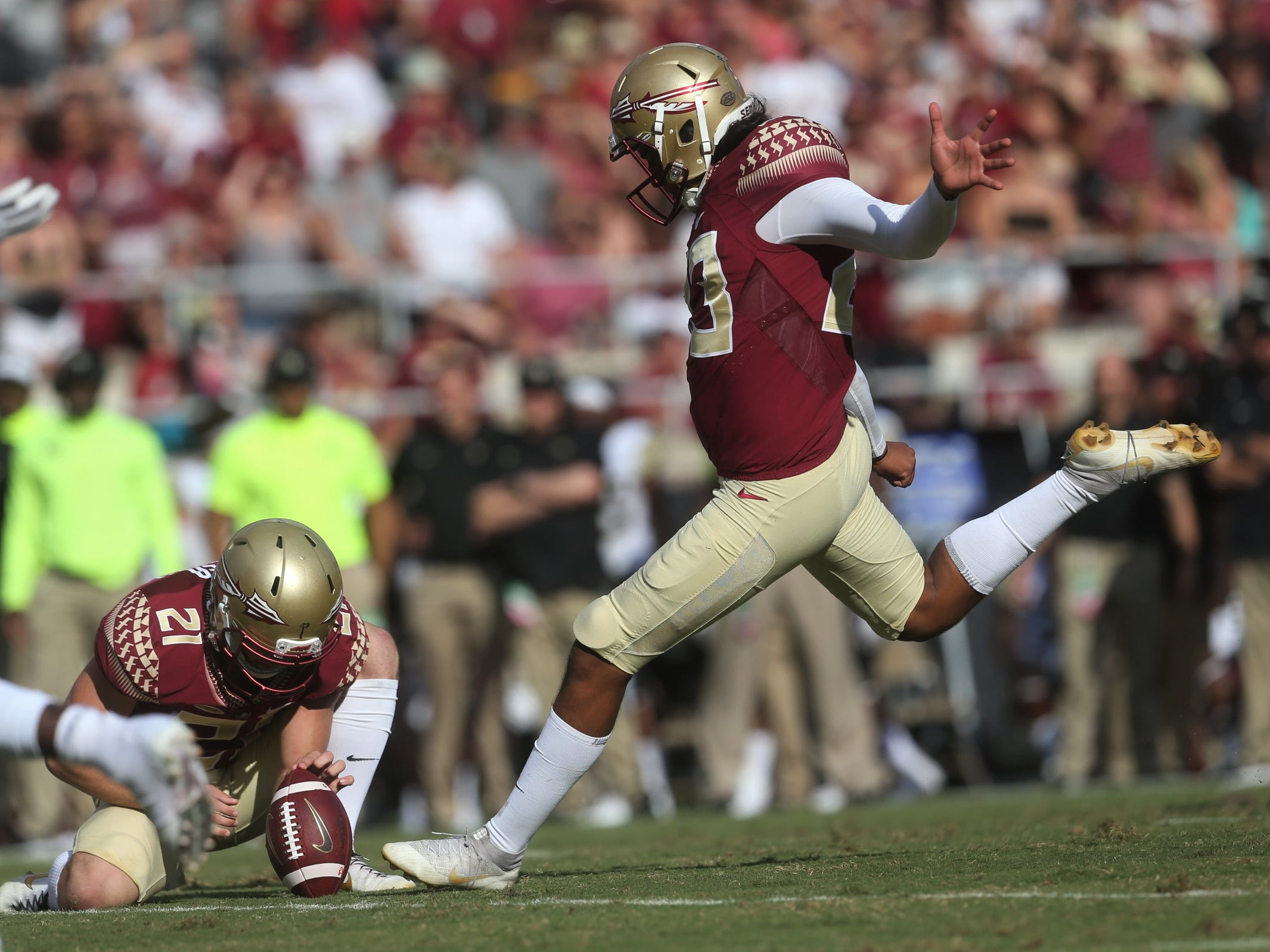 Florida State kicker Ricky Aguayo kicks an extra point against Wake Forest during a game at Doak Campbell Stadium on Saturday, Oct. 20, 2018.