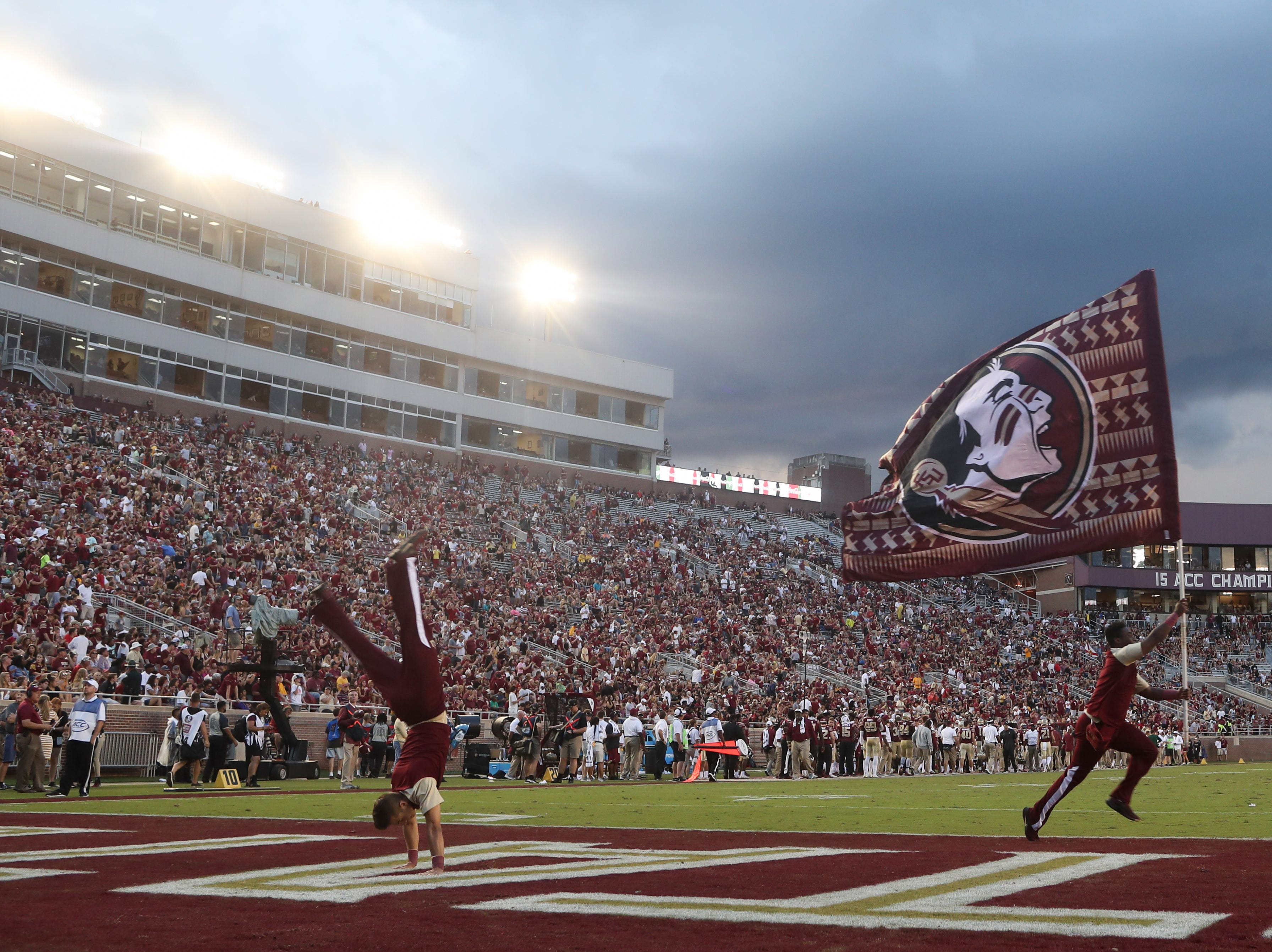 Florida State University celebrates a touchdown during FSU's homecoming game against Wake Forest at Doak S. Campbell Stadium Saturday, Oct. 20, 2018.