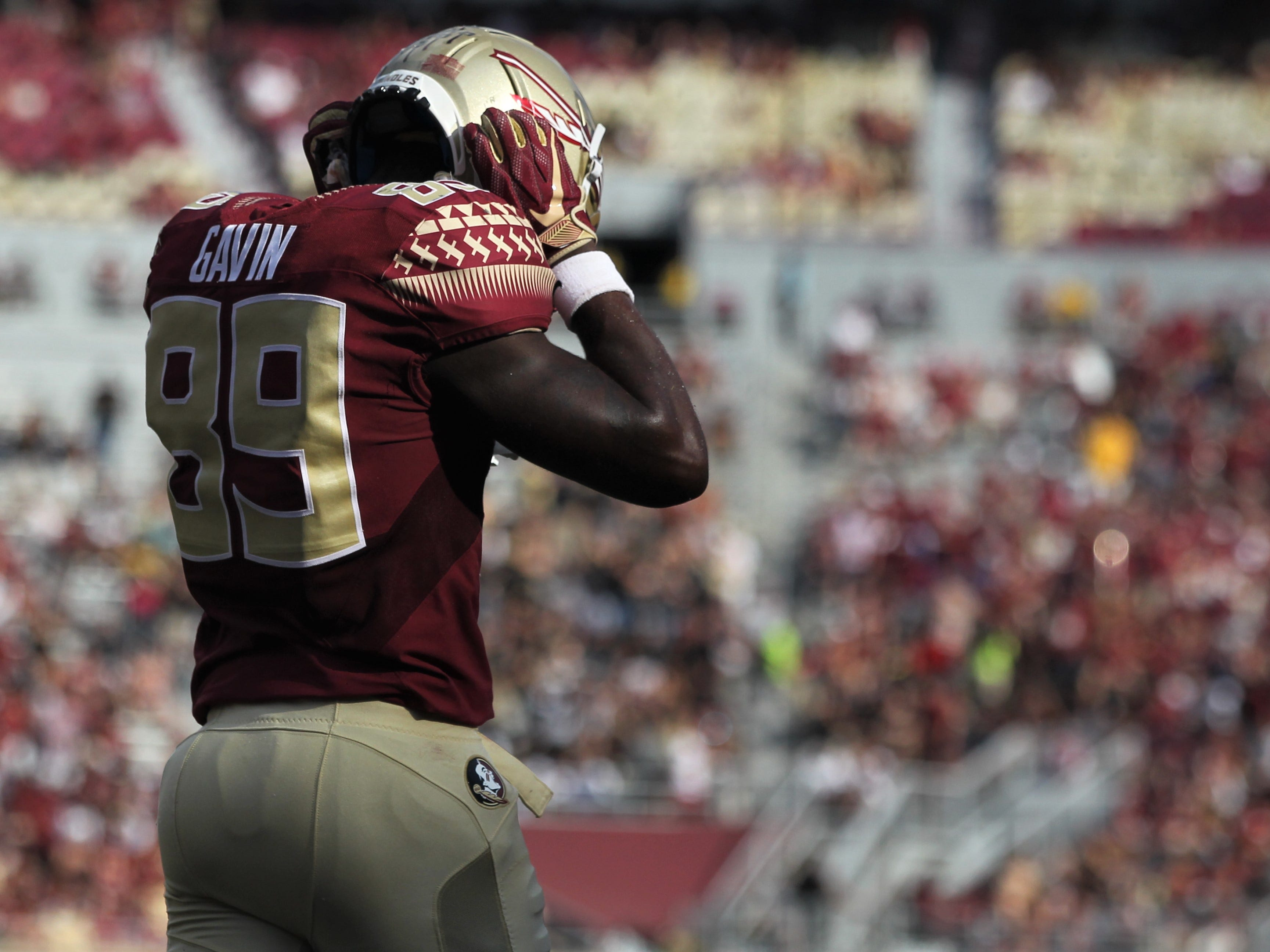Florida State receiver Keith Gavin reacts to fumbling just before the goal line after a long catch and run against Wake Forest during a game at Doak Campbell Stadium on Saturday, Oct. 20, 2018.