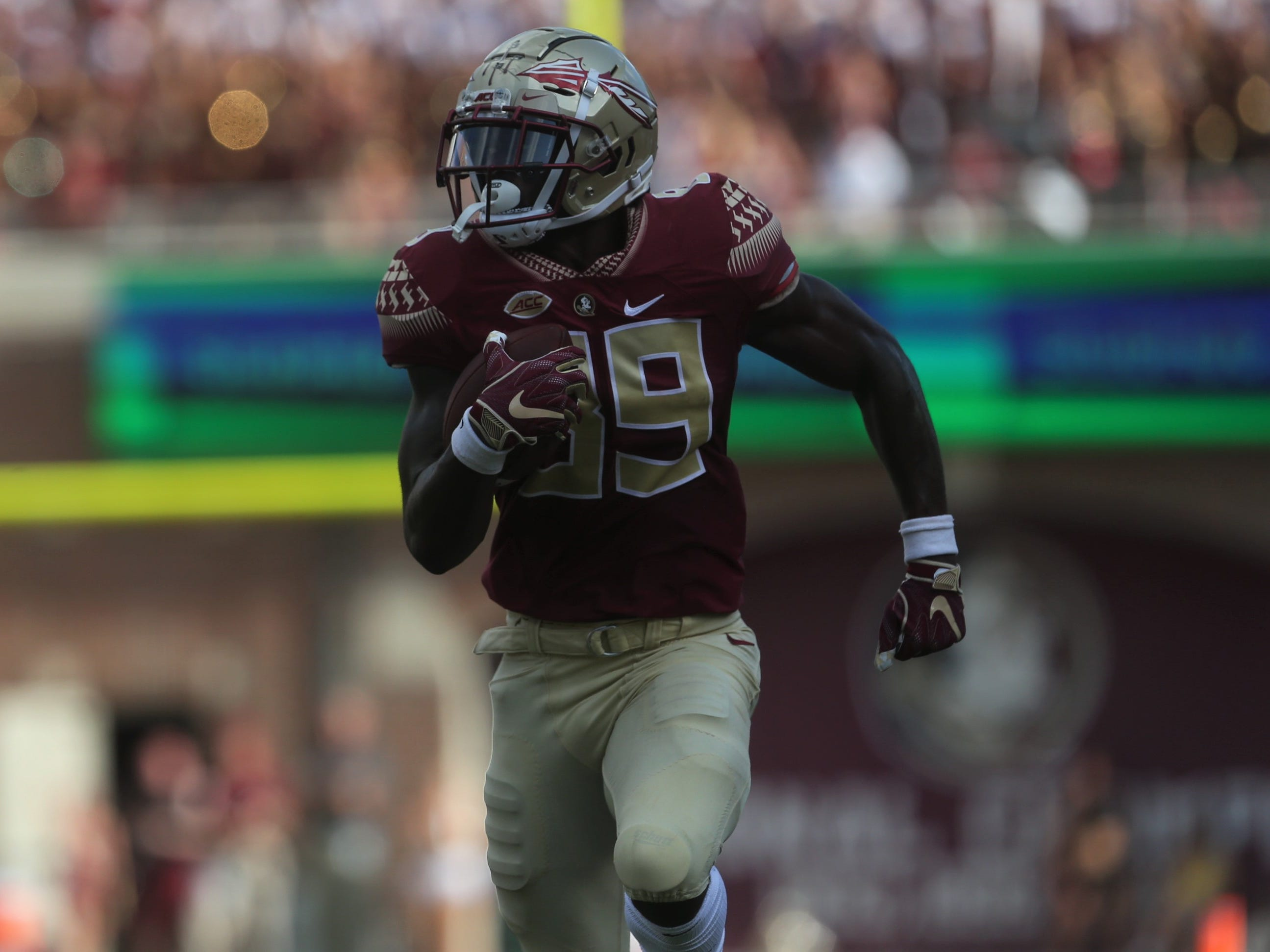Florida State receiver Keith Gavin races towards the goal line after a catch and run against Wake Forest during a game at Doak Campbell Stadium on Saturday, Oct. 20, 2018.