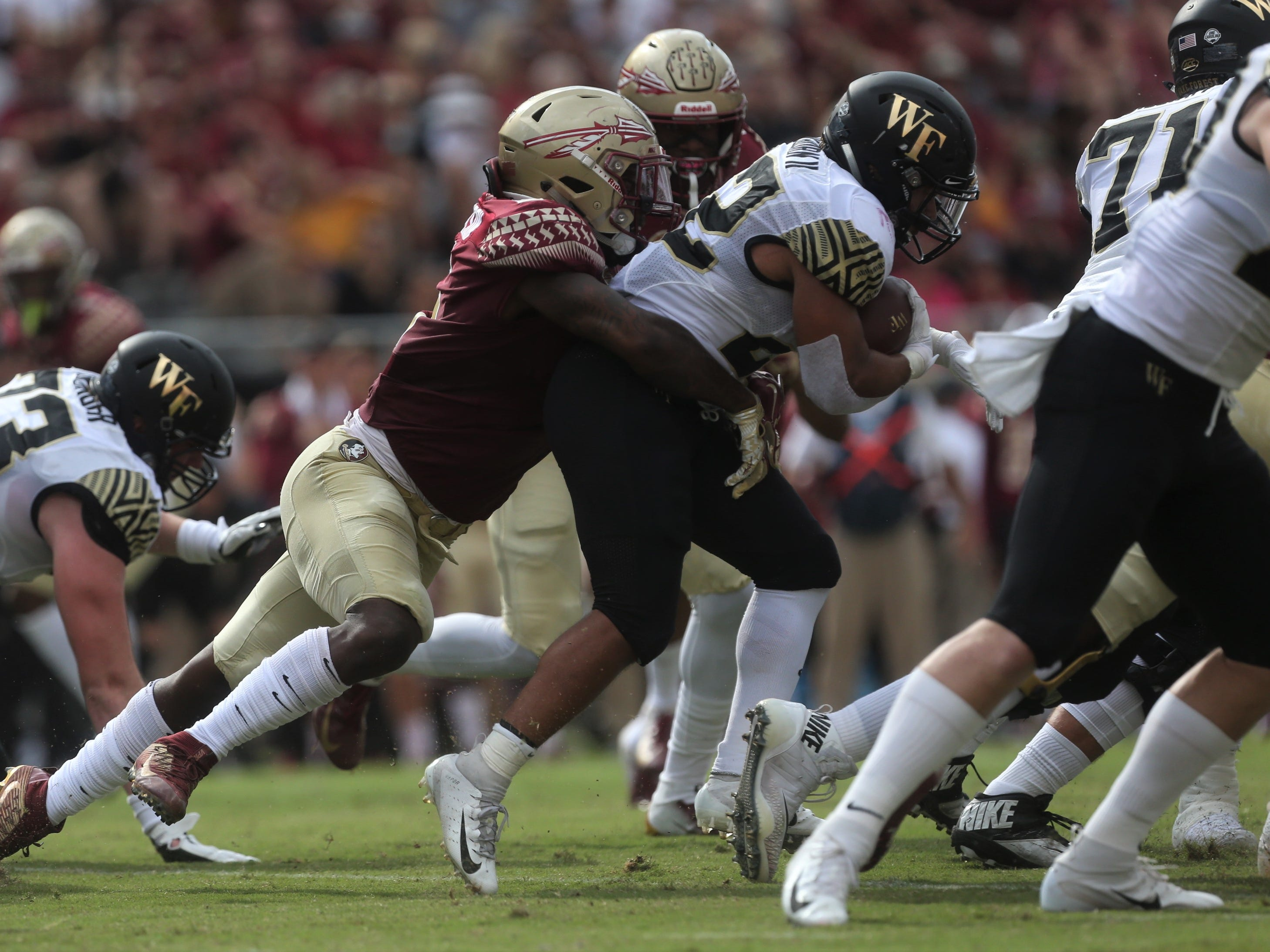 Wake Forest running back Matt Colburn II is taken down by a Florida State linebacker during a game at Doak Campbell Stadium on Saturday, Oct. 20, 2018.