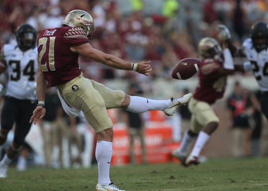 Florida State punter Logan Tyler makes contact on a punt during a game against Wake Forest at Doak Campbell Stadium on Saturday, Oct. 20, 2018.