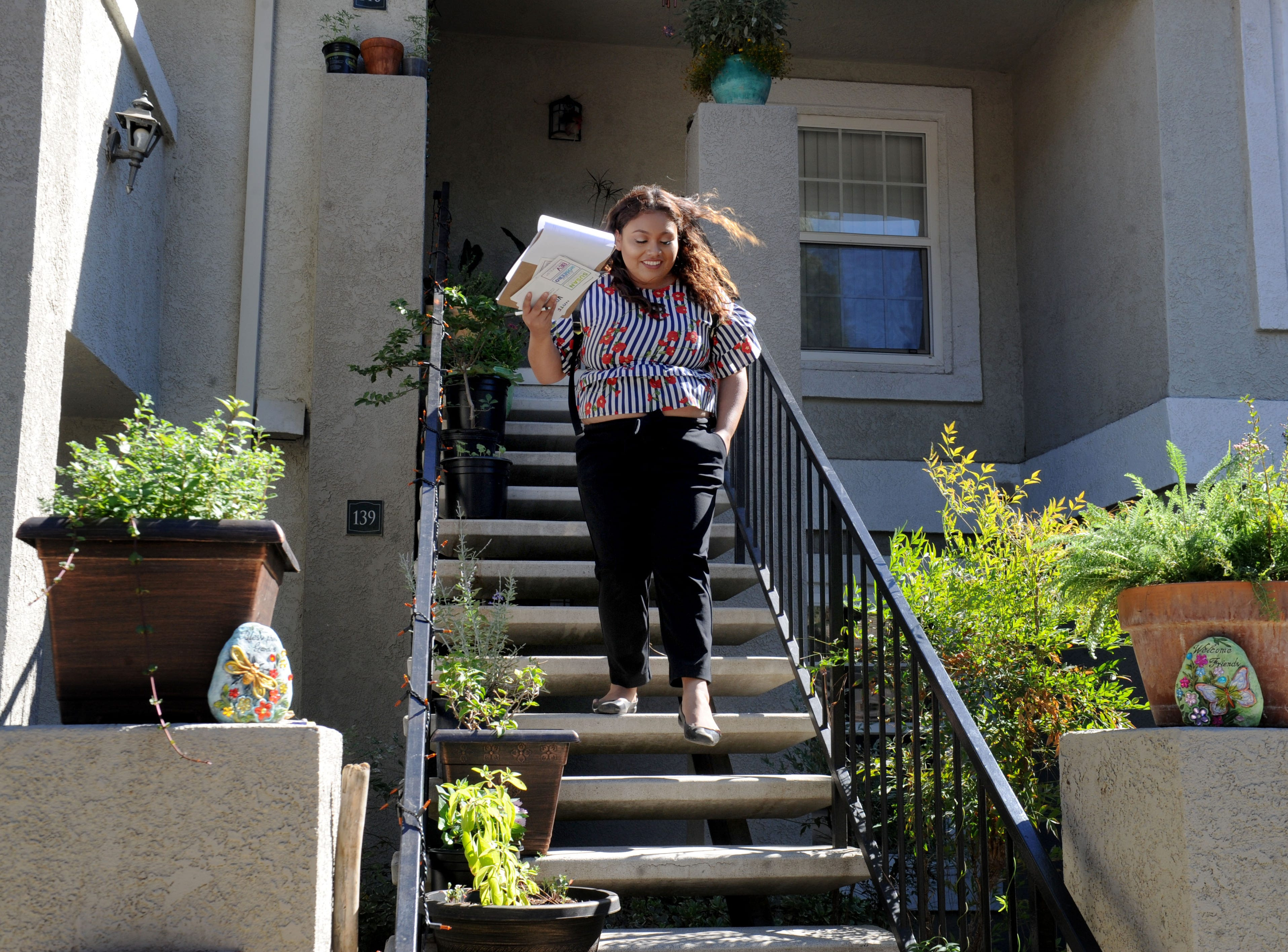Jessica Romero goes from door to door  in Camarillo to talk to voters. She, Bev Dransfeldt and Susan Santangelo decided to run as a ticket for Camarillo City Council.
