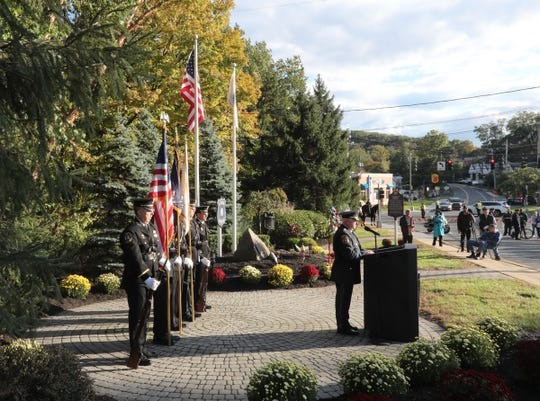Rockland County Undersheridd Robert Van Cura offers remarks during the 37th annual Brinks memorial ceremony in Nyack on Saturday, October 20, 2018.