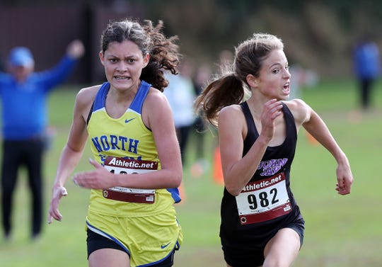 From left, North Salem's Ava Jolley just edges out John Jay's Kelsey Crawford to win the first girls varsity race during the Section 1 Coaches Cross-Country Invitational at Bowdoin Park in Wappingers Falls.
