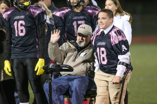 About 70 local veterans were honored by Appoquinimink football players in a pregame ceremony at the school's first Military Appreciation Game on Oct. 19.