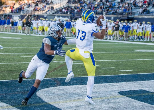 Vinny Papale hauls in a touchdown pass from Pat Kehoe at New Hampshire.
