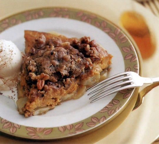 Pumpkin Apple pie served ala mode.-