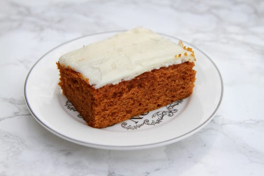 Topped with cream cheese frosting, these pumpkin bars are a welcome treat at any fall gathering.