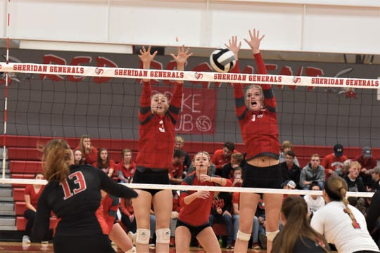 Sheridan's Cassie Amore (3) and Erin Schultz try to block a Logan Elm shot in Saturday's Division II sectional final. Both are among eight returning letter winners from the Generals' regional-qualifying squad.