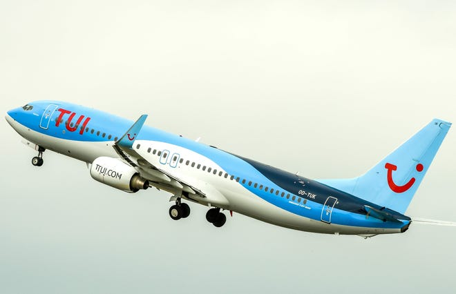 A Boeing 737-800 aircraft from TUI takes off from Lille Airport in Lesquin on August 22, 2018.