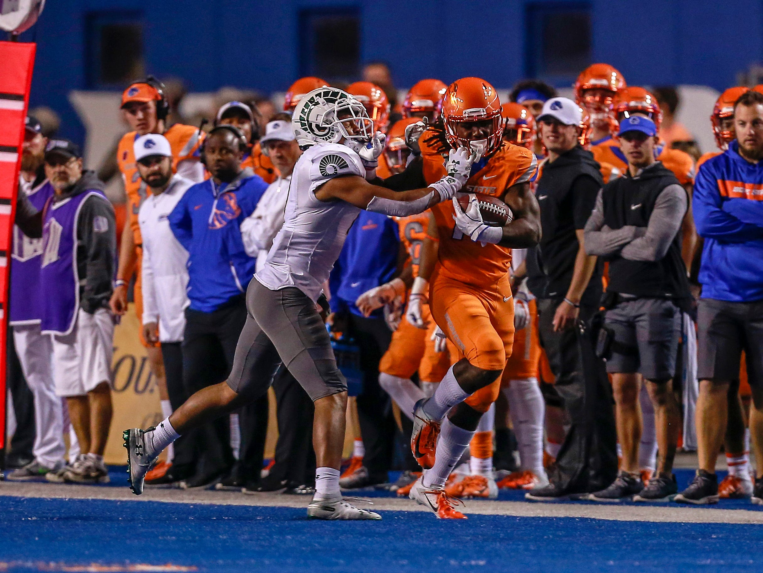 Boise State Broncos wide receiver A.J. Richardson (7) is forced out of bounds by Colorado State Rams safety Jamal Hicks (7) during the second half at Albertsons Stadium.