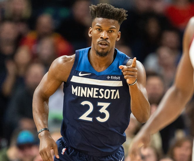 Jimmy Butler remains in the T'wolves starting lineup despite demanding a trade.