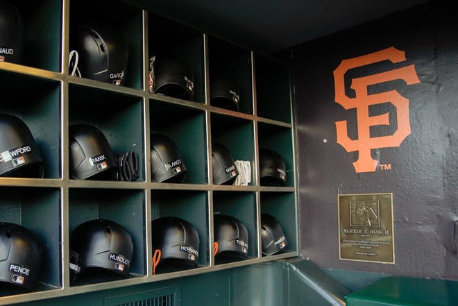 General view of the San Francisco Giants' helmets at AT&T Park.