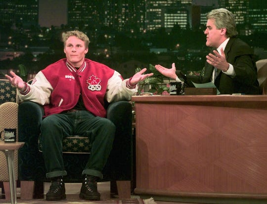 Ross Rebagliati joins host Jay Leno on 'The Tonight Show.'