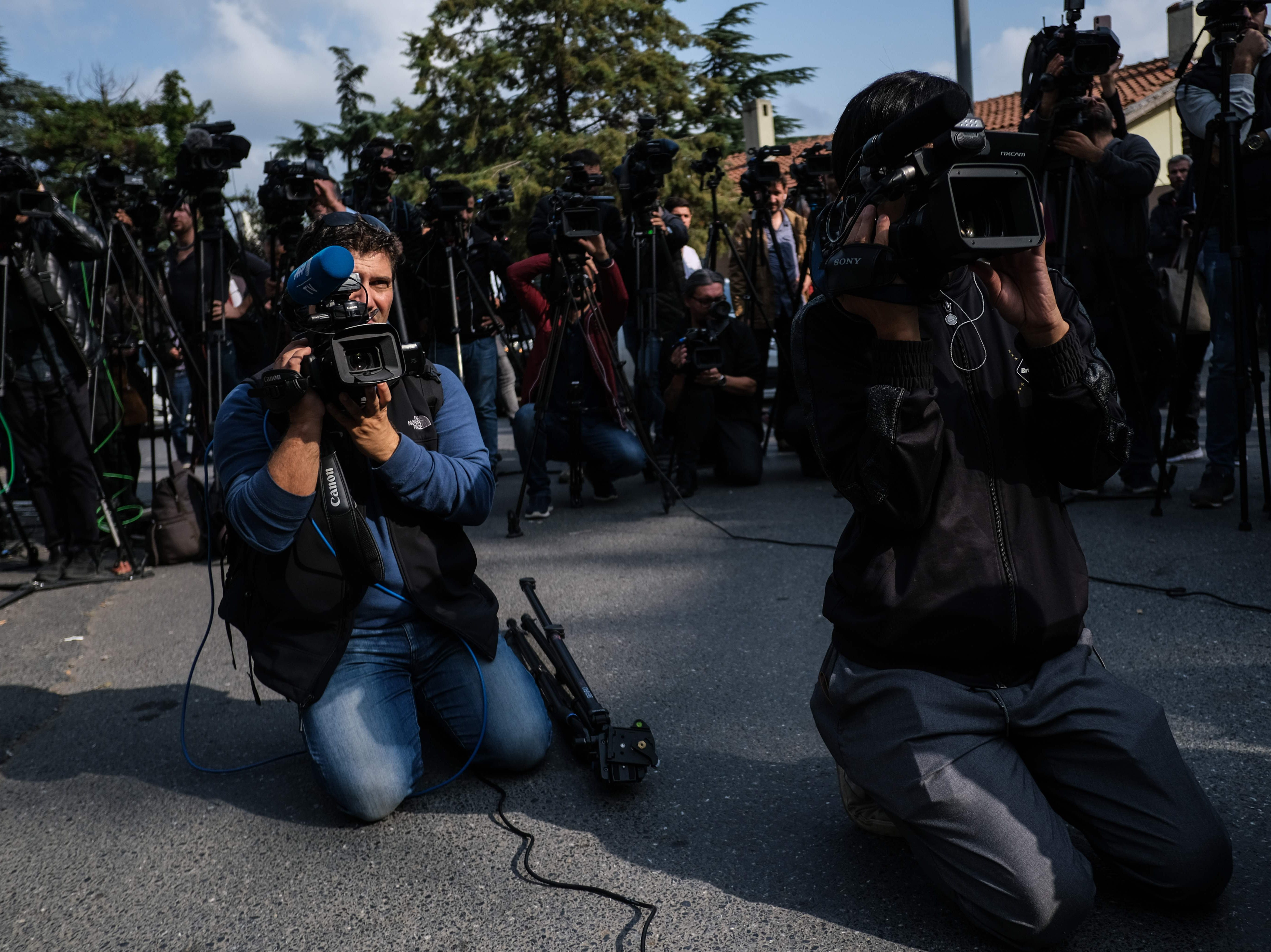 Media and TV journalists gather in front of the Saudi consulate in Istanbul, on Oct. 20, 2018.