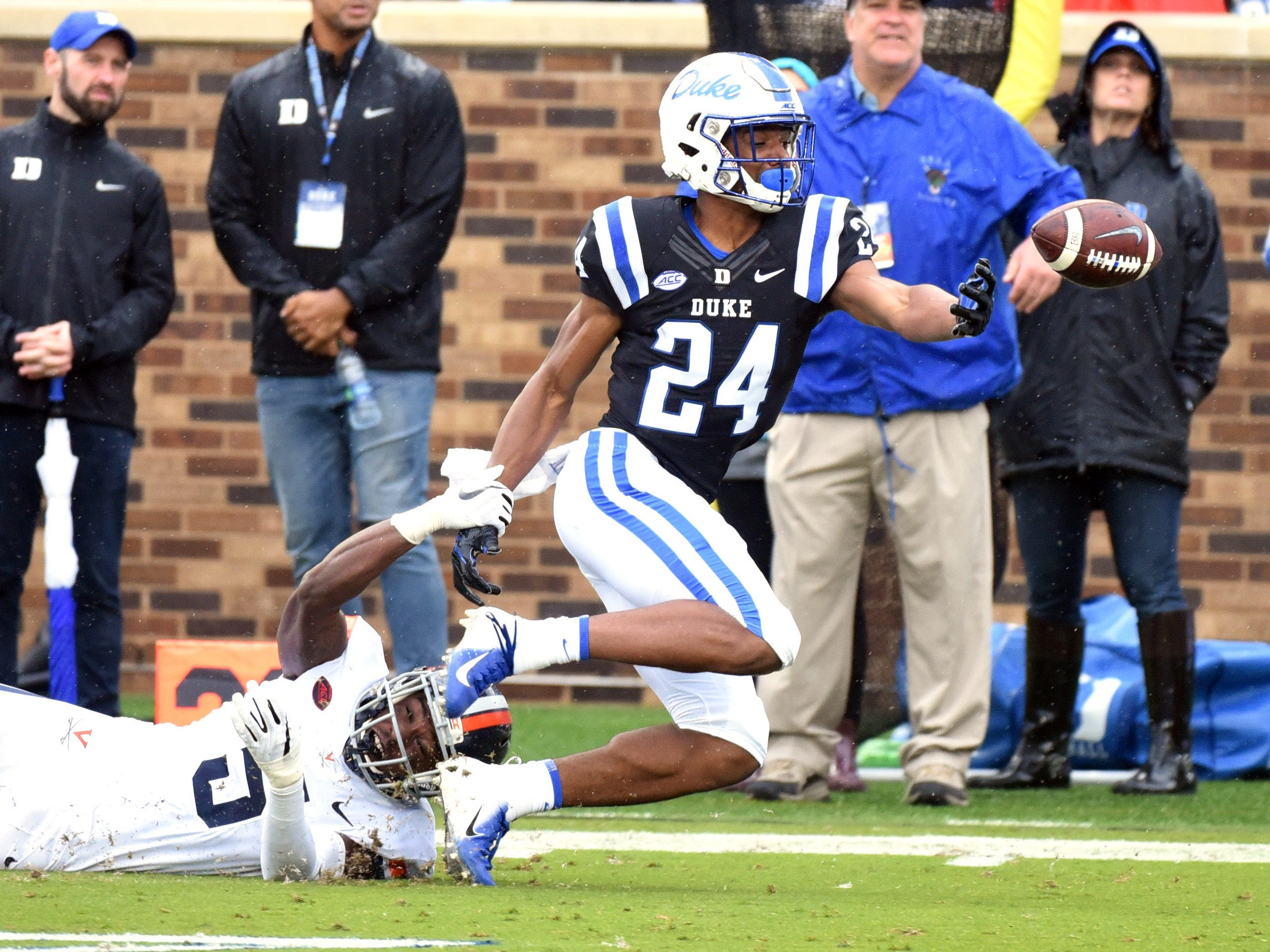 Duke Blue Devils receiver Jarett Garner can't make the catch against Virginia in the first half.