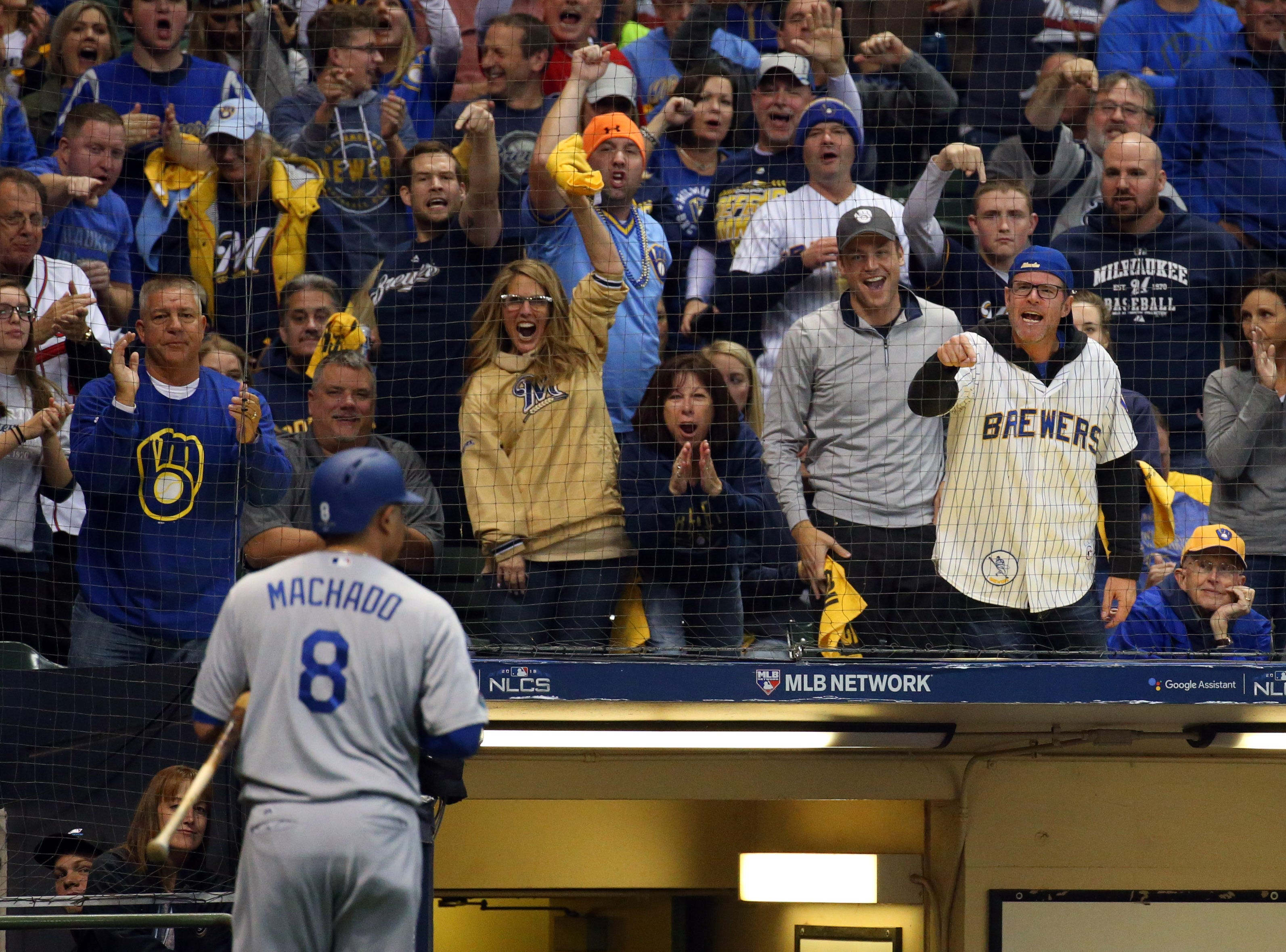 NLCS Game 6: Brewers fans taunt Manny Machado after he struck out in the first inning
