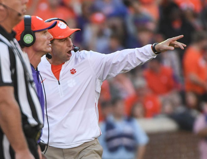 Clemson Defensive Coordinator Brent Venables and Clemson Head Coach Dabo Swinney during the first quarter in Memorial Stadium on Saturday, October 20, 2018.