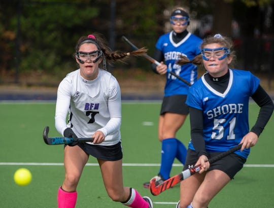 10/21/18 Rumson Fair Haven #7 Alina Arko and  #51 Shore Reg Maggie Lamb  RFH defeats Shore Reg. 5-1 in SCT  Field Hockey final at Monmouth University. Photo James J. Connolly/Correspondent