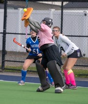 10/21/18 RFH goalkeeper Ceci Newman makes a save   as Rumson Fair Haven defeats Shore Reg. 5-1 in SCT  Field Hockey final at Monmouth University. Photo James J. Connolly/Correspondent