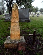 The grave of Texas Ranger Charlie Webb. Webb was shot by notorious outlaw John Wesley Hardin on May 26, 1874, and is buried at Greenleaf Cemetery in Brownwood.