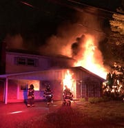 Firefighters respond to a house fire on the 2100 block of Chapel Avenue in Cherry Hill early Saturday.