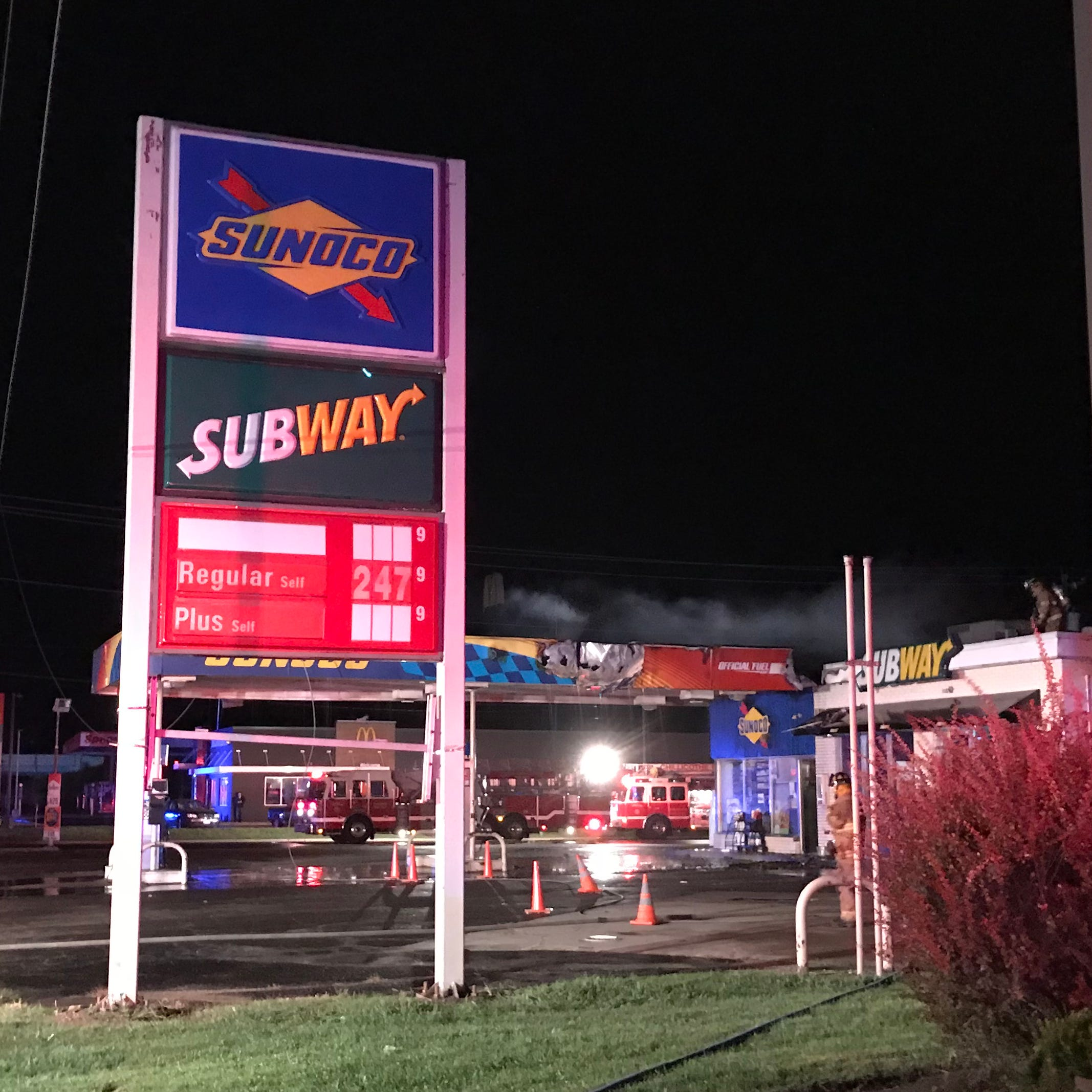 Power line snaps, causes fire at East Main Street Sunoco gas station