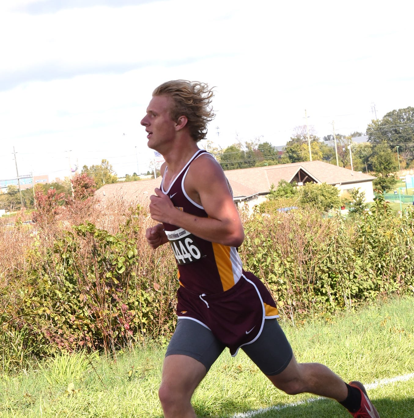 Peter Morton of Turpin takes first place in the Boys D1-A race at the Southwest District Cross Country Championships, October 20, 2018.