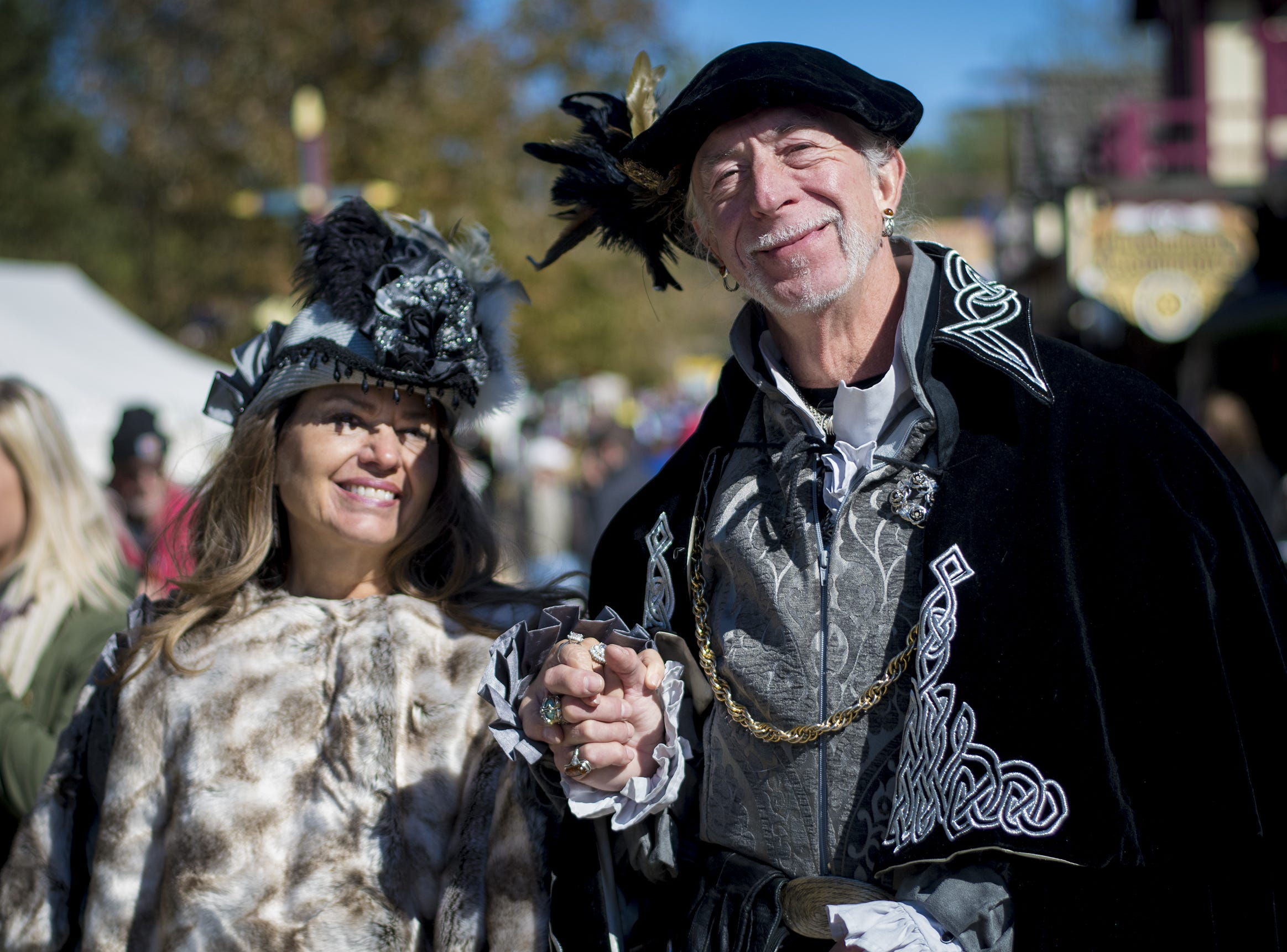 Michael and Jill White of Michigan attend Romance Weekend at the Ohio Renaissance Festival Sunday, October 21, 2018 in Waynesville, Ohio.