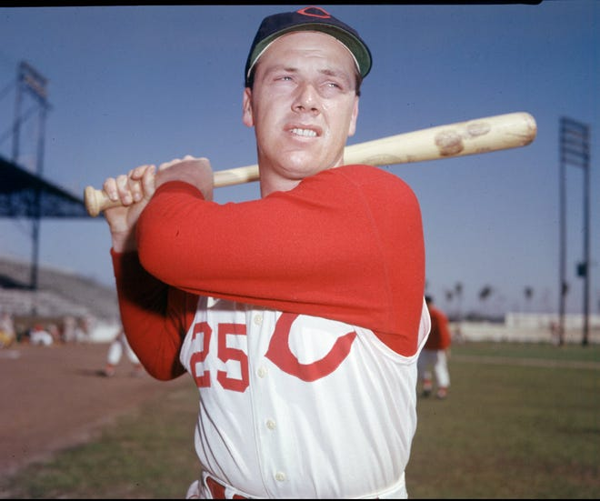 Associated Press Gus Bell had 100 or more RBI four times during his Reds career and batted .292 or better six times. He made All-Star Game appearances in ?53, ?54, ?56 and ?57. Text: FILE--Gus Bell, shown in this 1959 file photo, an outfielder with the Cincinnati Reds for nine of his 15 major-league seasons, died Sunday May 7, 1995 at the age of 66. Bell suffered a heart attack May 1 and was at Bethesda North Hospital when he died, a spokeswoman said Monday May 8, 1995. (AP Photo/file)