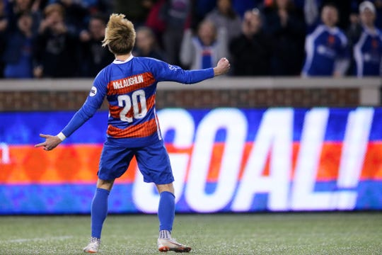 FC Cincinnati midfielder Jimmy McLaughlin (20) reacts after scoring penalty kick in the penalty shootout during a USL soccer playoff game between Nashville SC and FC Cincinnati,Saturday, Oct. 20, 2018, at Nippert Stadium in Cincinnati. FC Cincinnati won 6-5 on penalties.