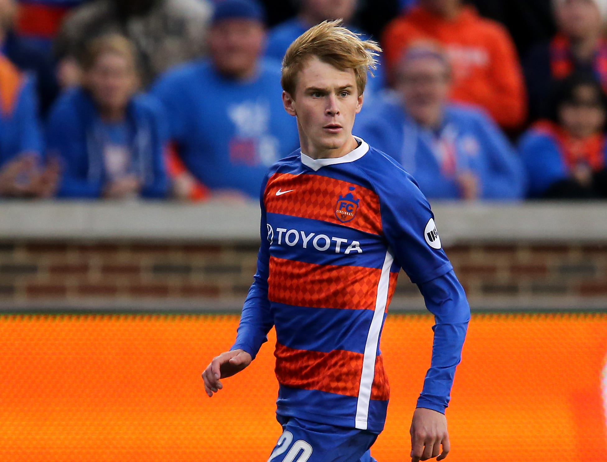 FC Cincinnati midfielder Jimmy McLaughlin (20) brings the ball upfield in the second extra time period during a USL soccer playoff game between Nashville SC and FC Cincinnati,Saturday, Oct. 20, 2018, at Nippert Stadium in Cincinnati. FC Cincinnati won 6-5 on penalties.