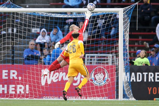FC Cincinnati goalkeeper Spencer Richey (18) cannot teach a game-tying goal in the second extra time period during a USL soccer playoff game between Nashville SC and FC Cincinnati,Saturday, Oct. 20, 2018, at Nippert Stadium in Cincinnati. FC Cincinnati won 6-5 on penalties.