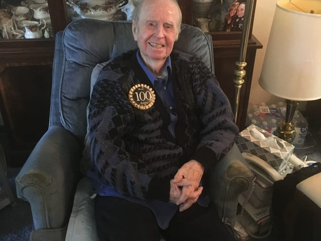 John S. Danaher, World War II veteran andformerChief Warrant Officer W-4 in the U.S. Navy, celebrates his 100th birthday at his home in Des Moines.