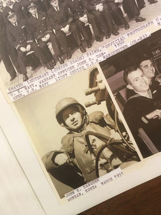 Family of John Danaher displayed photos of him from his years of service, at his 100th birthday celebration. (33-year-old Danaher serving in Korea)