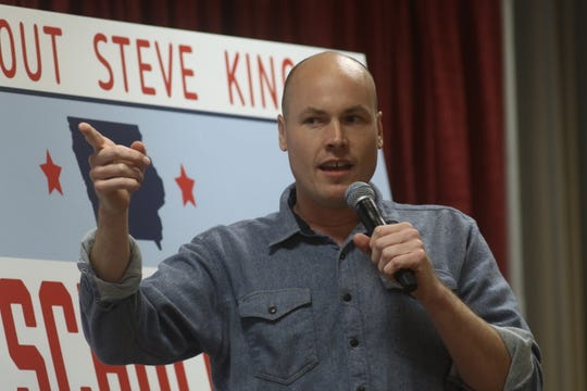 J.D. Scholten, the Democrat challenging U.S. Rep. Steve King, R-Kiron, to represent Iowa's 4th Congressional District, speaks to a crowd in the Memorial Union at Iowa State University in Ames, Iowa, on Sunday, Oct. 21, 2018. Scholten was joined by U.S. Sen. Bernie Sanders, of Vermont, who was in town to rally Iowa Democrats on Scholten's behalf.