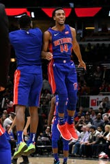 Detroit Pistons guard Ish Smith (14) celebrates his basket against the Chicago Bulls during the second half at United Center in Chicago on Oct. 20, 2018.