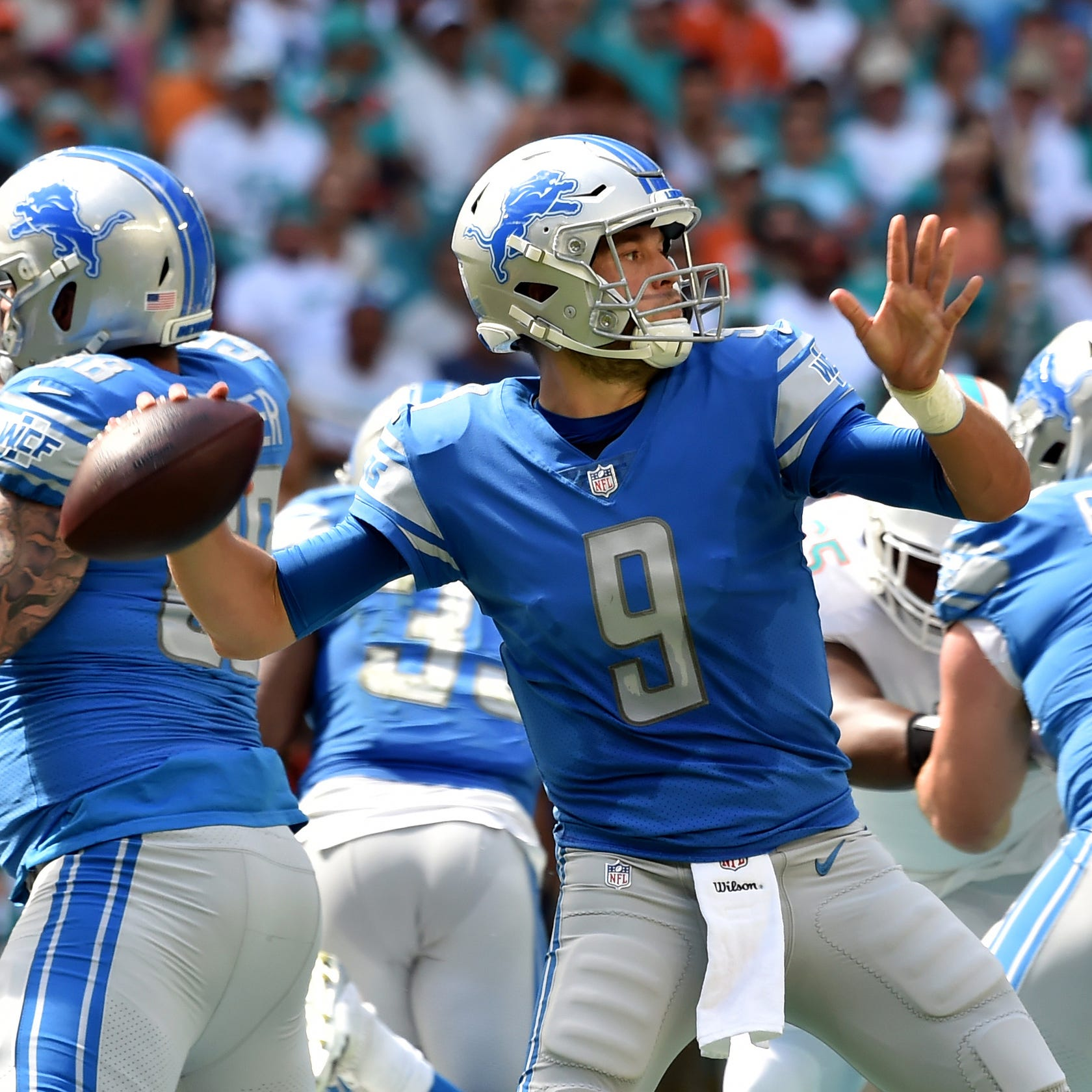 Lions quarterback Matthew Stafford throws a pass against the Dolphins during the first half on Sunday, Oct. 21, 2018, in Miami Gardens, Fla.