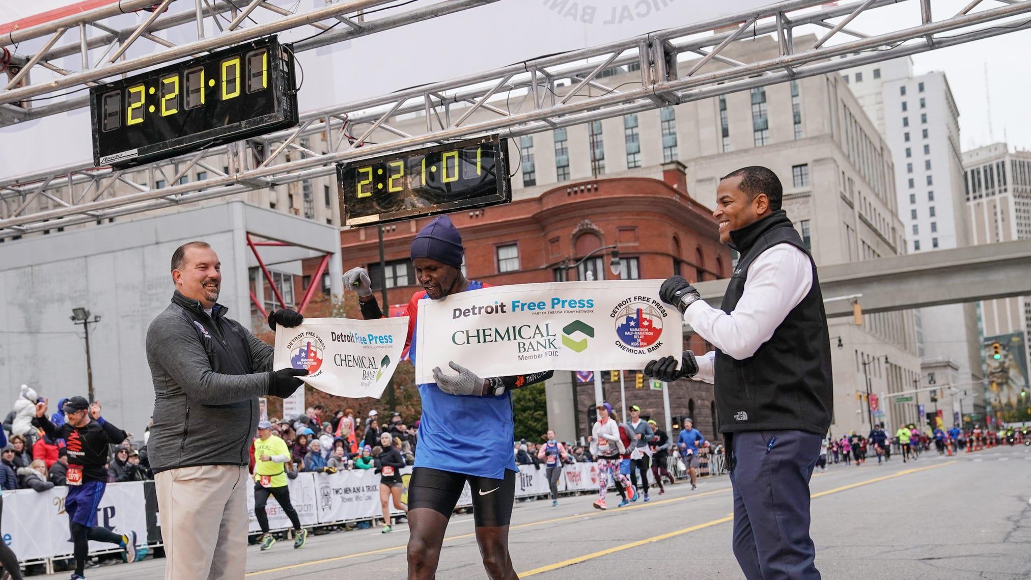 Detroit marathon: Christopher Chipsiya wins men's full marathon