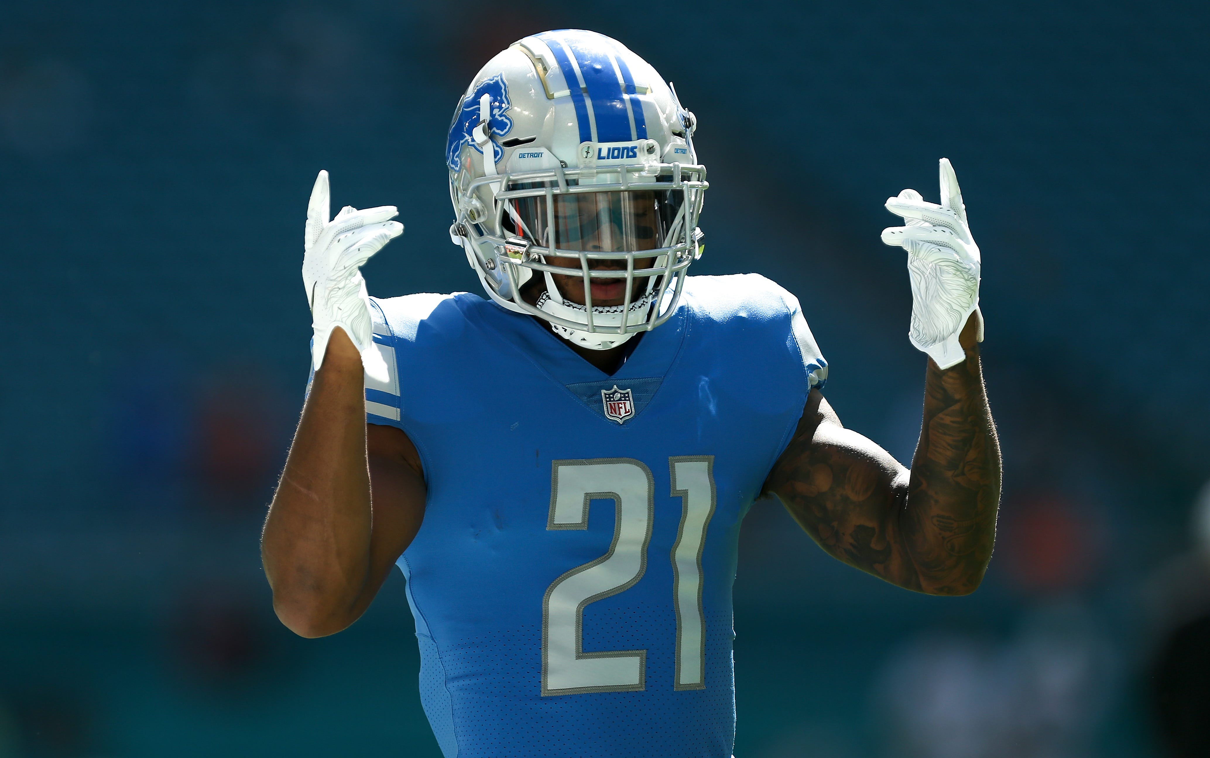 Lions running back Ameer Abdullah reacts prior to the Lions' 32-21 win on Sunday, Oct. 21, 2018, in Miami Gardens, Fla.
