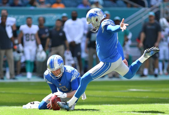 Lions kicker Matt Prater kicks a field goal in the second quarter of the Lions' 32-21 win on Sunday, Oct. 21, 2018, in Miami Gardens, Fla.