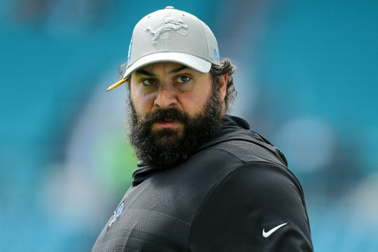 Lions coach Matt Patricia looks on prior to the game on Sunday, Oct. 21, 2018, in Miami Gardens, Fla.