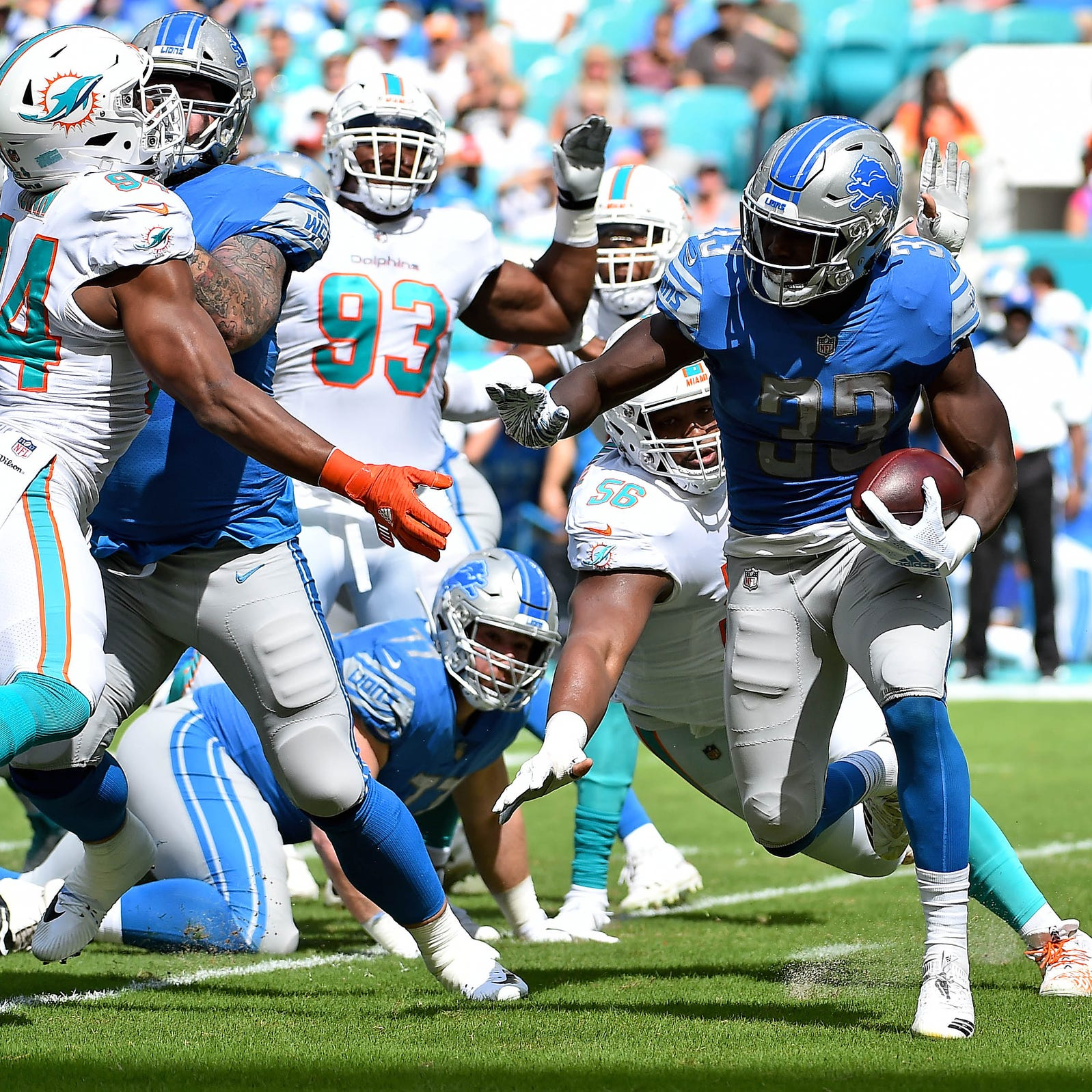 Detroit Lions have best rushing day in 21 years in 32-21 win at Miami